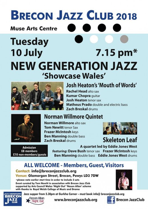 New Generation Jazz - 'Showcase Wales', Brecon Jazz Club, The Muse Arts Centre, Brecon, 10/07/2018.